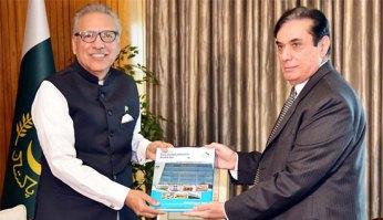 NAB Chairman Javed Iqbal presents Annual Report-2018 to President Alvi
