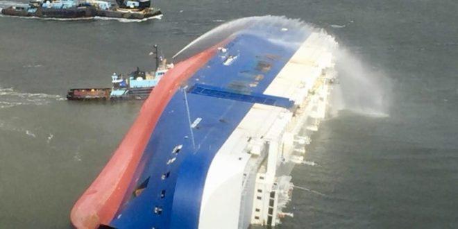 White smoke seen from capsized vessel near US port